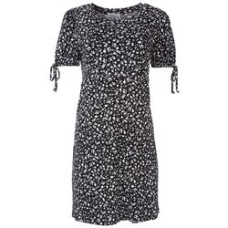 Gilli Womens Bicolor Floral Split Sleeves Dress