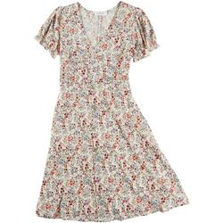 Gilli Womens Floral Tie Back Short Sleeve Dress