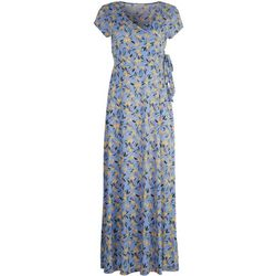 Gilli Womens Side Tie Floral Long Dress