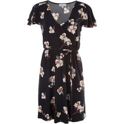 Gilli Womens Floral Tie Short Sleeve Dress