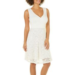 Solgee Womens Embellished Lace Fit & Flare Dress