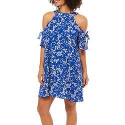 Solgee Womens Floral High Neck Cold Shoulder Dress