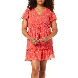 Solgee Womens Floral Faux-Wrap Tie Waist Dress