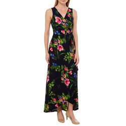 Solgee Womens Floral Faux-Wrap Side Tie Maxi Dress