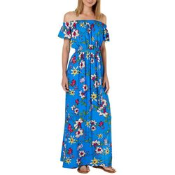 Solgee Womens Floral Print Off The Shoulder Maxi Dress