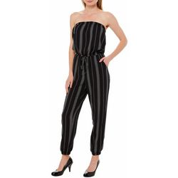 Solgee Womens Floral Stripe Strapless Jogger Jumpsuit