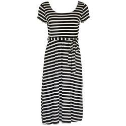 Gilli Womens Striped Scoop Neck Midi Dress
