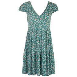 Gilli Womens Tiered Floral Dress