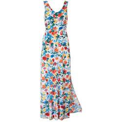 Gilli Womens Floral Tie Maxi Dress
