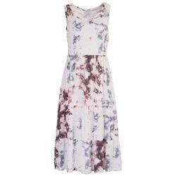 Gilli Womens Tie-Dye Tiered Midi Dress
