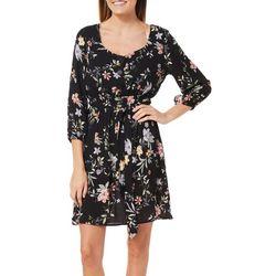 Gilli Womens Belted Floral Print Sundress