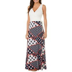 Solgee Womens Faux-Wrap Geometric Dot Maxi Dress