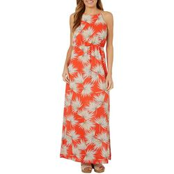 Solgee Womens Tropical Palm Leaf Maxi Dress