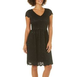 Solgee Womens Sequin Lace Fit & Flare Dress