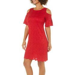 Solgee Womens Embellished Lace Cold Shoulder Dress