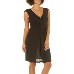 Solgee Womens Faux-Wrap Shimmer Dress