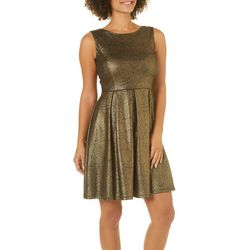 Solgee Womens Metallic Floral Fit & Flare Dress