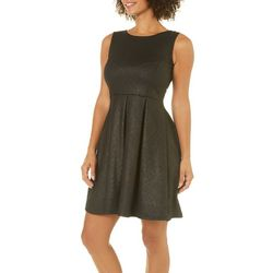 Solgee Womens Metallic Chevron Fit & Flare Dress