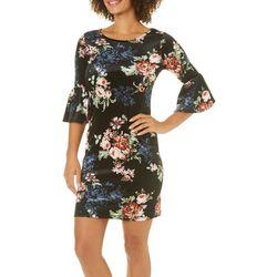 Solgee Womens Floral Velvet Bell Sleeve Dress