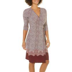 Solgee Womens Border Print Faux-Wrap Dress