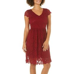 Solgee Womens Floral Lace Fit & Flare Dress