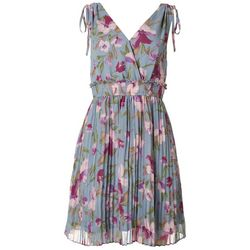 Gilli Womens Pleated Floral Shoulder Tie Dress