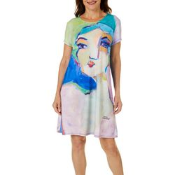 Leoma Lovegrove Womens Lady Face T-Shirt Dress