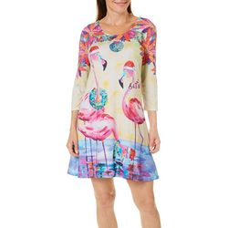 Ellen Negley Womens Holiday Flamingo Sundress
