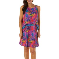 Womens Sleeveless Floral Pop Over Dress