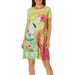 Leoma Lovegrove Womens Florida Flamingo T-Shirt Dress
