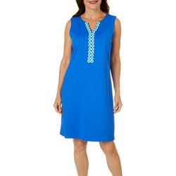 Womens Solid Crochet Detail Dress
