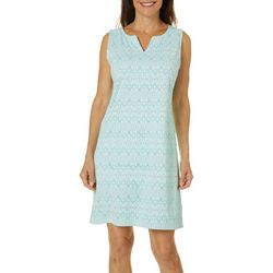 Womens Geometric Print Shift Dress