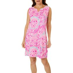 Womens Paisley Print Shift Dress