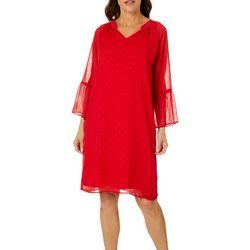 Sunsets and Sweet Tea Womens Bell Sleeve Clip Dot Dress