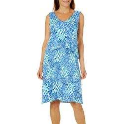 Caribbean Joe Womens Pineapple Print Pop-Over Dress