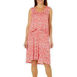 Caribbean Joe Womens Damask Print Pop-Over Dress