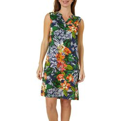 Caribbean Joe Womens Tropical Mixed Print Dress