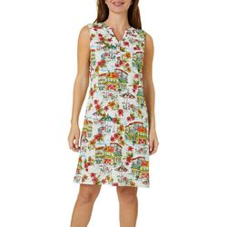 Caribbean Joe Womens Tropical Hibiscus Print Dress