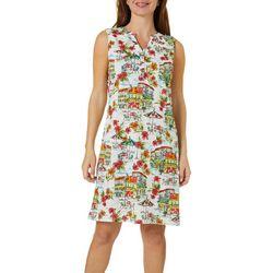 Womens Tropical Hibiscus Print Dress
