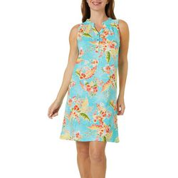 Caribbean Joe Womens Exotic Floral Print Dress