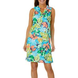Caribbean Joe Womens Sleeveless Floral Print Dress