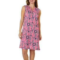Caribbean Joe Womens Anchor & Rope Print Dress