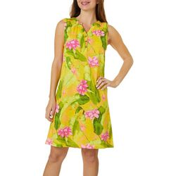 Caribbean Joe Womens Floral Banana leaf Print Dress