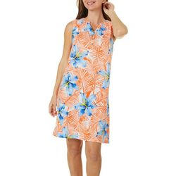 Caribbean Joe Womens Tropical Floral Print Dress