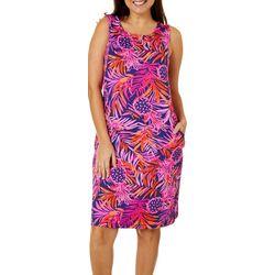 Womens Pineapple Print Shift Dress