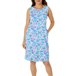 Womens Flamingo Print Shift Dress