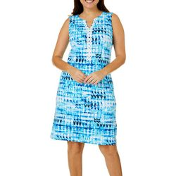 Womens Graphic Crochet Detail Dress