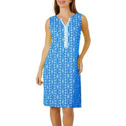 Womens Geo Print Crochet Trim Dress