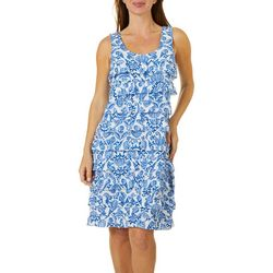 Sunsets and Sweet Tea Womens Ruffel Seashell Print Dress