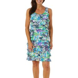 Sunsets and Sweet Tea Womens Ruffel Palm Leaf Print Dress